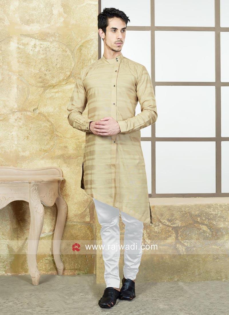 Cotton Silk Beige Color Pathani Suit