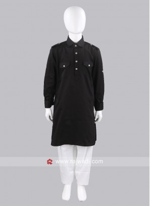 Cotton Silk Black Boys Pathani