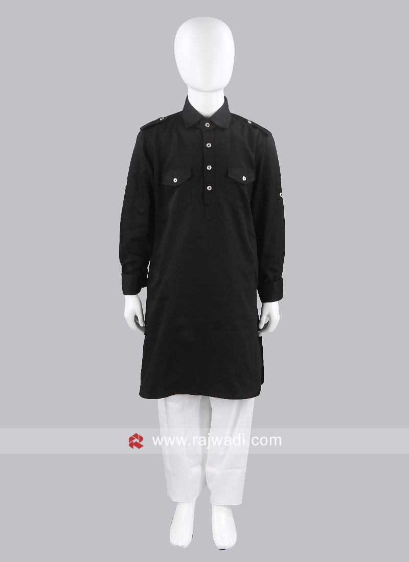 Cotton Silk Black Boys Pathani
