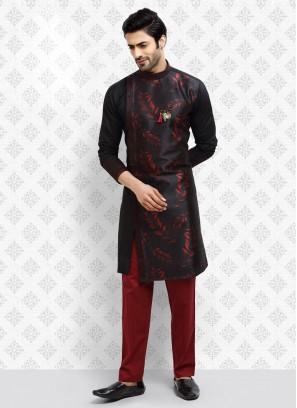 Printed Black And Red Color Kurta Pajama