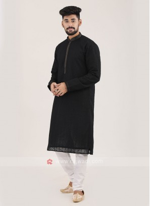 Cotton Silk Black Kurta Pajama