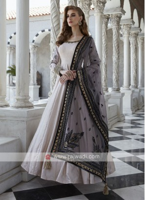 Cotton Silk Block Print Anarkali Suit