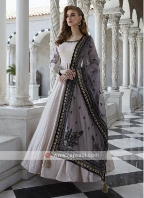Cotton Silk Block Print Anarkali Suit