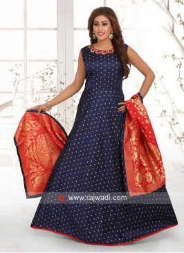Cotton Silk Blue Anarkali Suit