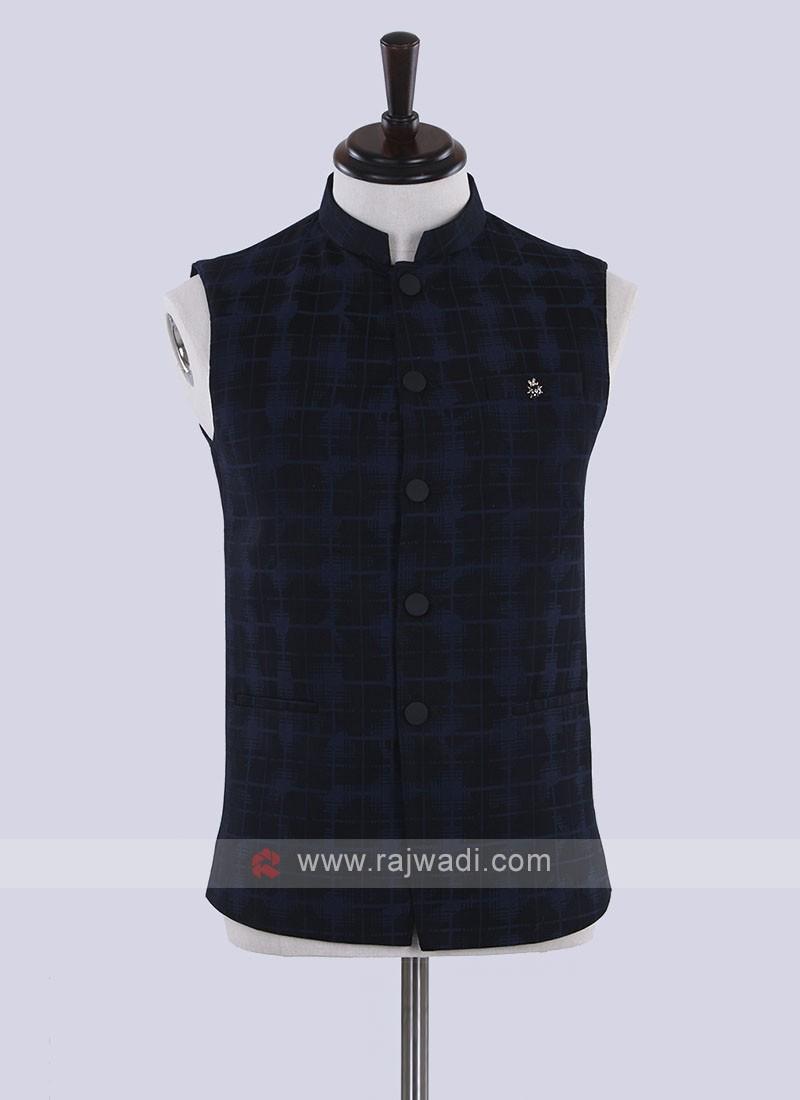 cotton silk blue and black koti