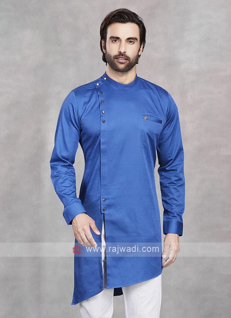 Cotton Silk Blue Kurta