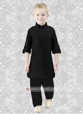 Cotton Silk Boys Pathani in Black