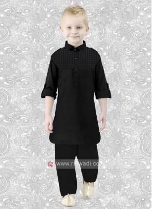 Cotton Silk Boys Pathani in Black
