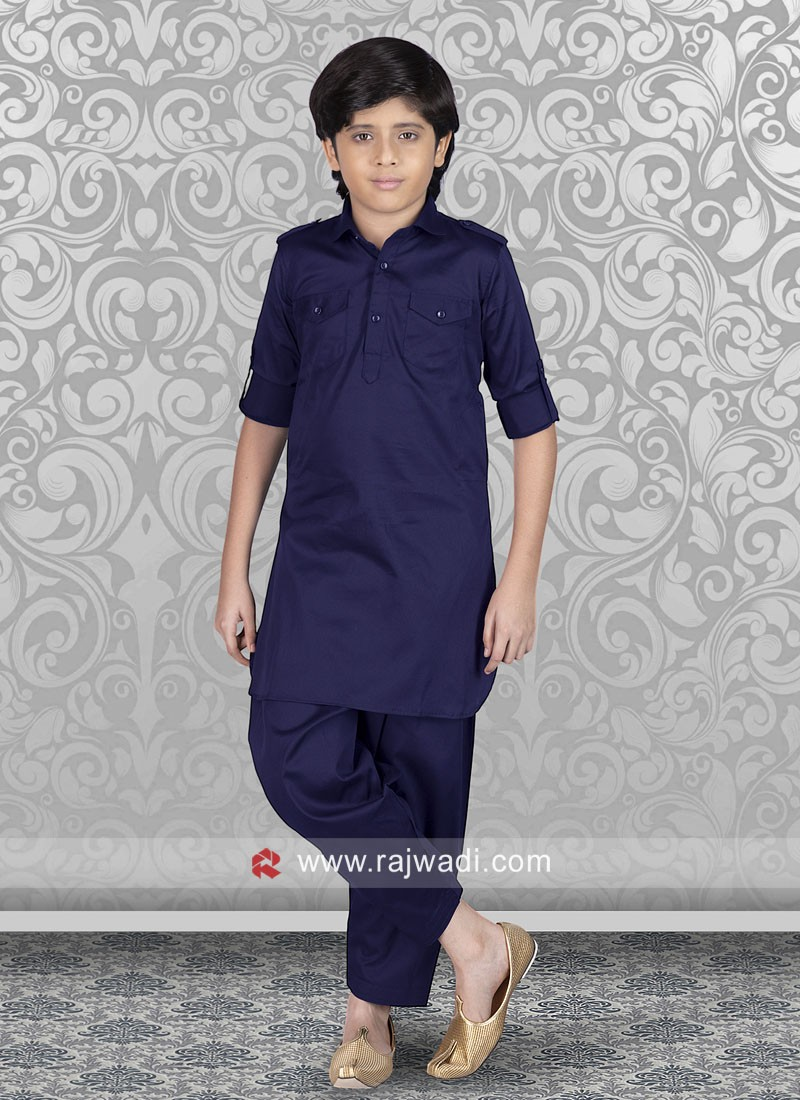 Cotton Silk Boys Pathani in Navy