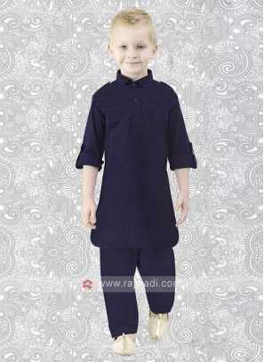 Cotton Silk Boys Pathani in Navy Blue