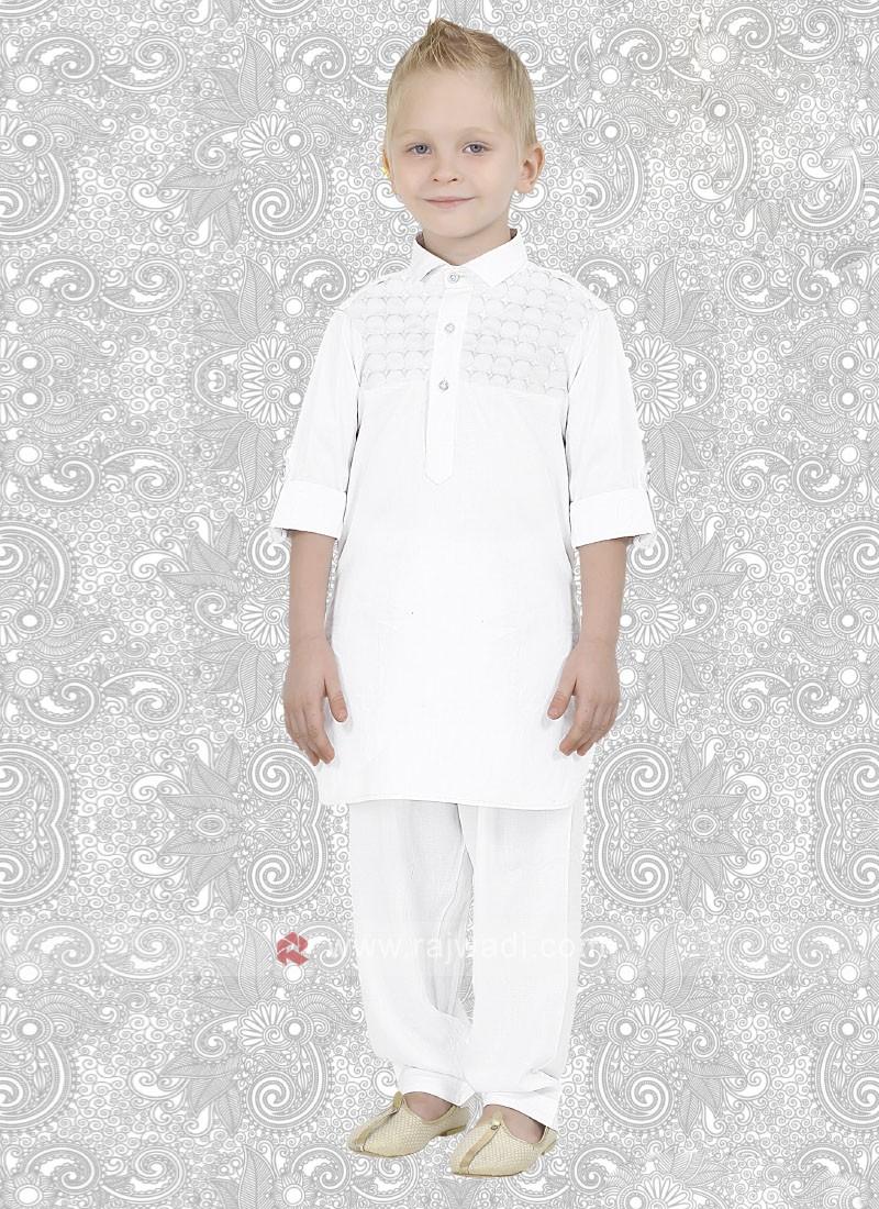 Cotton Silk Boys Pathani in White