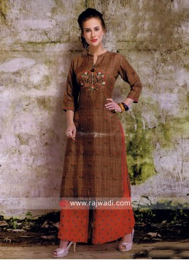 Cotton Silk Brown Kurti with Palazzo