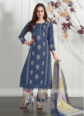 Dressline Cotton Silk Casual Palazzo Suit
