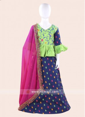 Cotton Silk Chaniya Choli for Baby Girls