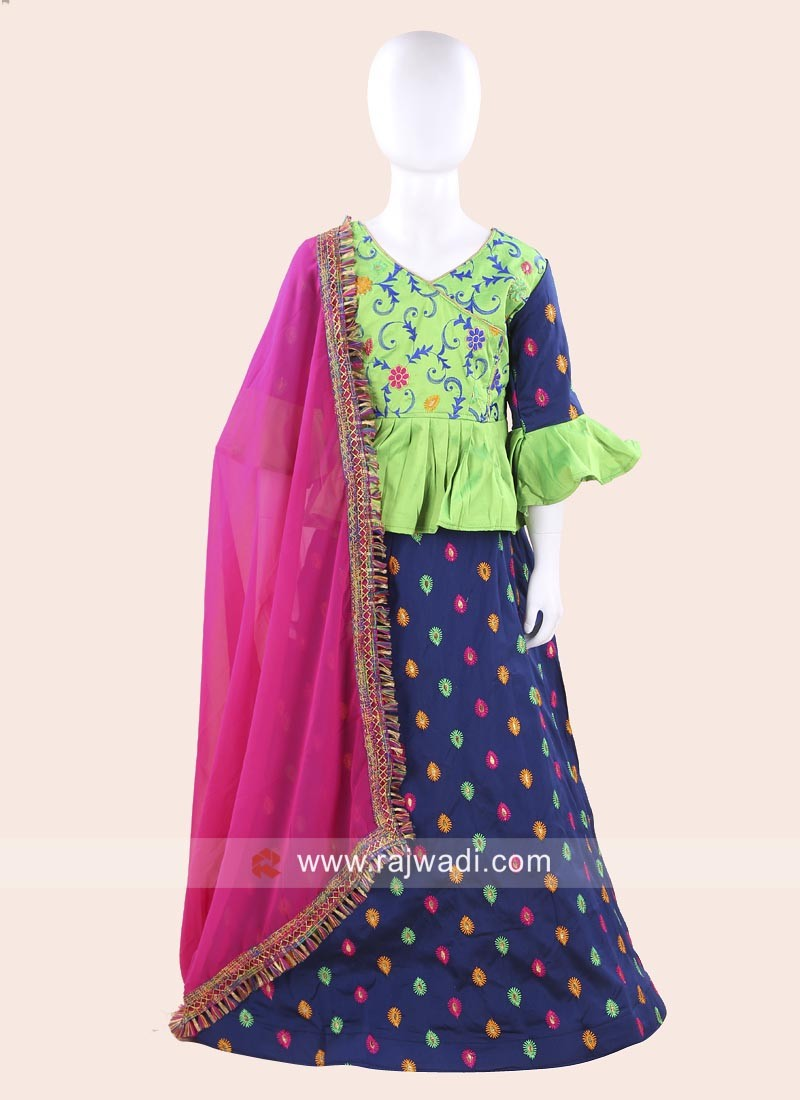 Cotton Silk Chaniya Choli for Baby Girls