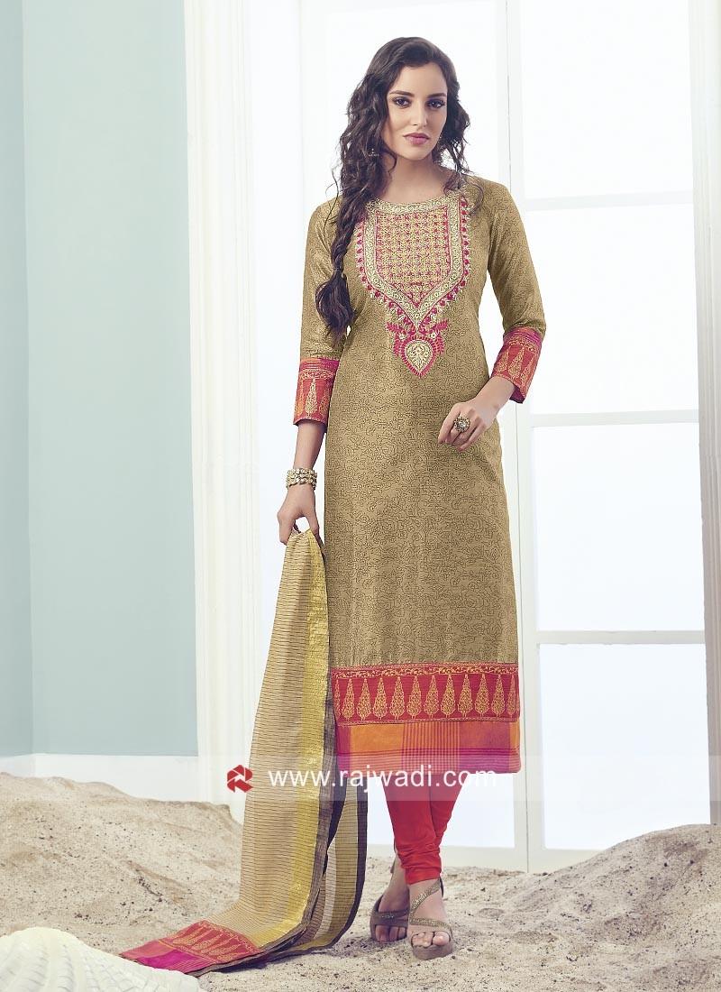 Cotton Silk Churidar Suit