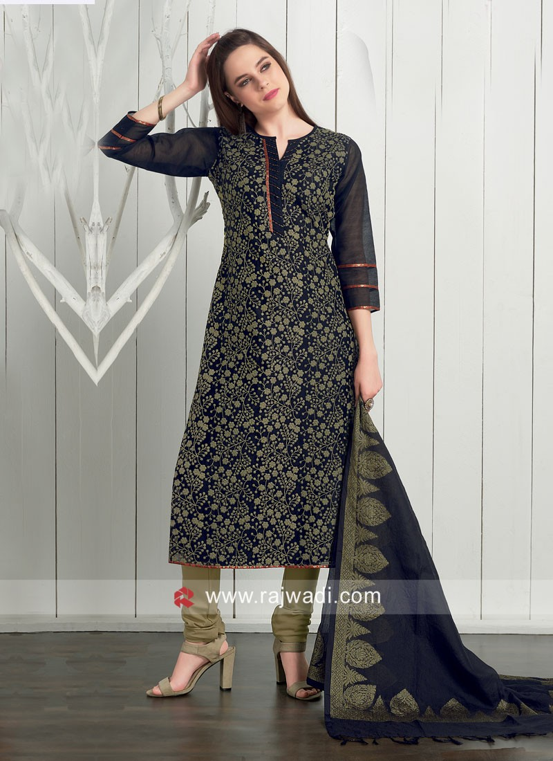 Dressline Cotton Silk Churidar Suit in Black