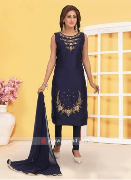 Cotton Silk Churidar Suit in Blue