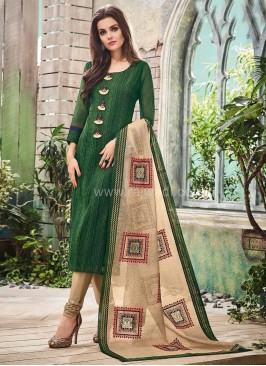 Cotton Silk Churidar Suit in Green