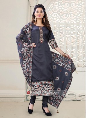 Cotton Silk Churidar Suit in Grey