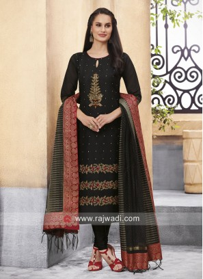 Cotton Silk Churidar Suit with Dupatta