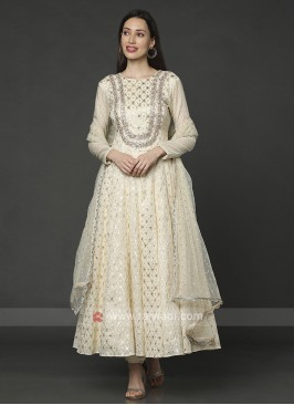 Cotton Silk Cream Anarakali Suit