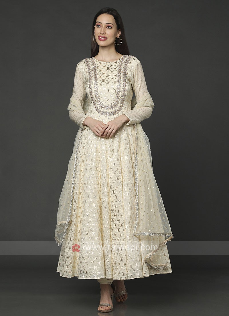 Cotton Silk Cream Anarakali Suit
