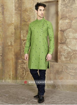 Cotton Silk Dark Green Kurta Set