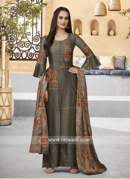 Cotton Silk Dark Grey Palazzo Suit