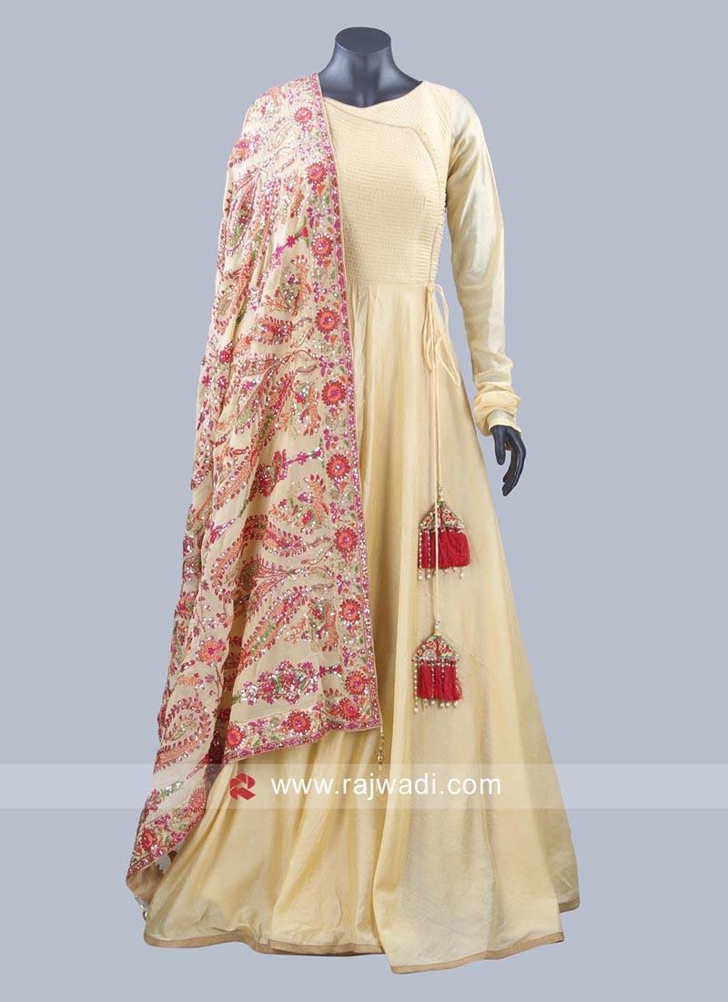 Cotton Silk Anarkali Dress with Latkan