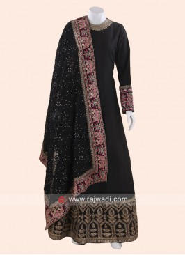 Cotton Silk Designer Black Anarkali Suit