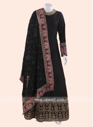 Cotton Silk Designer Black Anarkali Suit