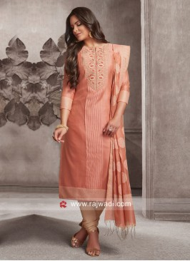 Cotton Silk Designer Churidar Suit