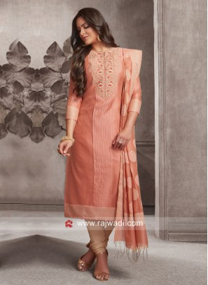Dressline Cotton Silk Designer Churidar Suit