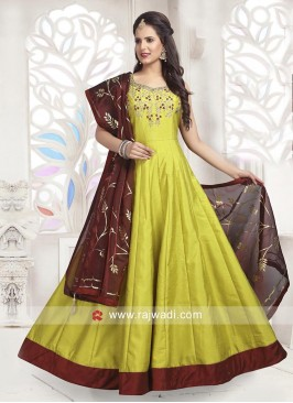 Cotton Silk Embellished Anarkali Dress with Chunni