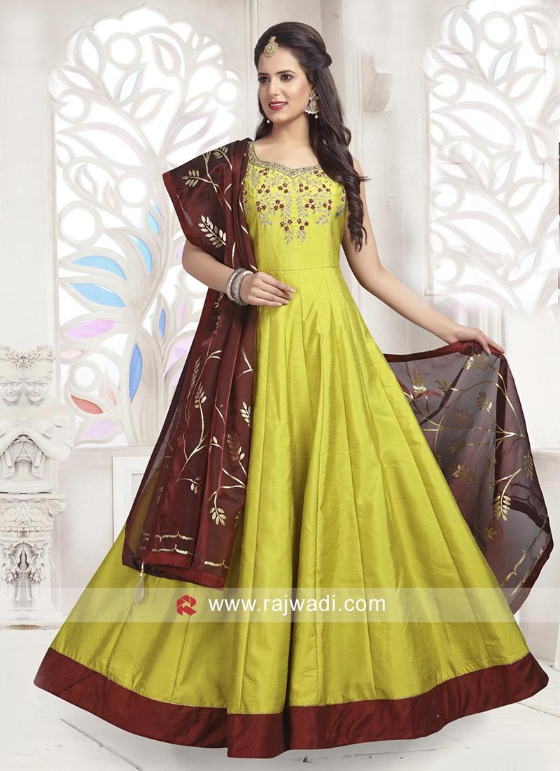 Cotton Silk Embellished Anarkali Dress with Chunni