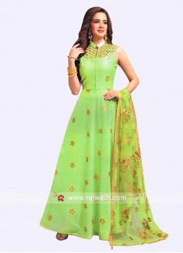 Cotton Silk Embroidered Anarkali Dress