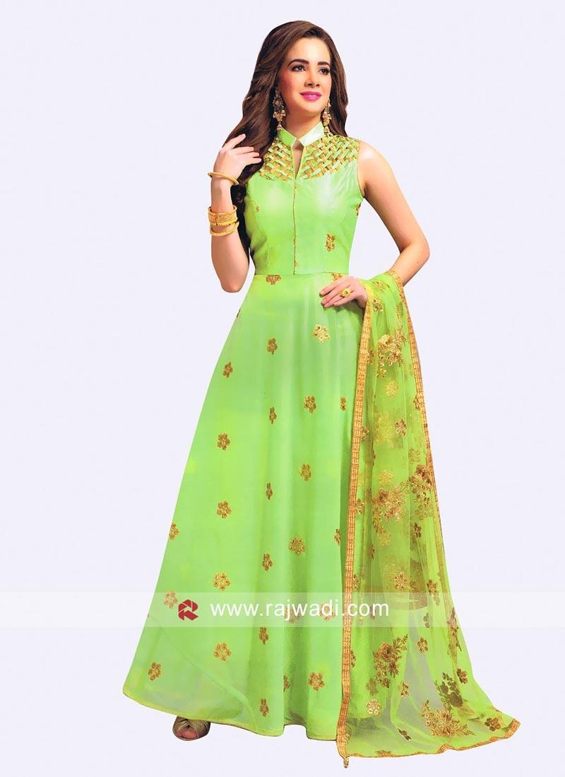 Cotton Silk Embroidered Anarkali Dress