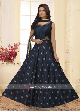 Cotton Silk Embroidered Anarkali in Navy