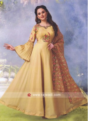 Cotton Silk Embroidered Anarkali Salwar Kameez
