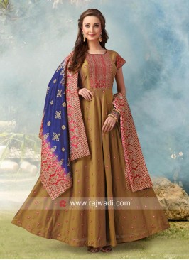 Cotton Silk Embroidered Anarkali Suit
