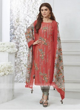 Cotton Silk Embroidered Floral Print Salwar Suit