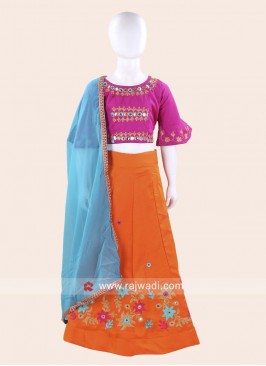 Cotton Silk Embroidered Kids Chaniya Choli