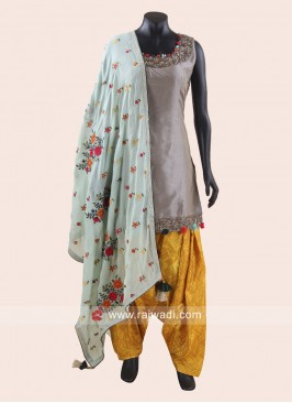 Cotton Silk Embroidered Patiala Suit