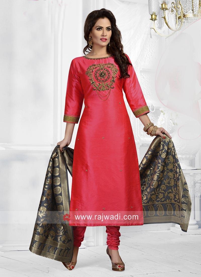 Cotton Silk Embroidered Salwar Suit