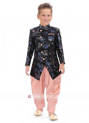 Cotton silk Fabric Black Indo Western