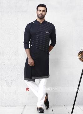 Cotton Silk Fabric Black Pathani Set