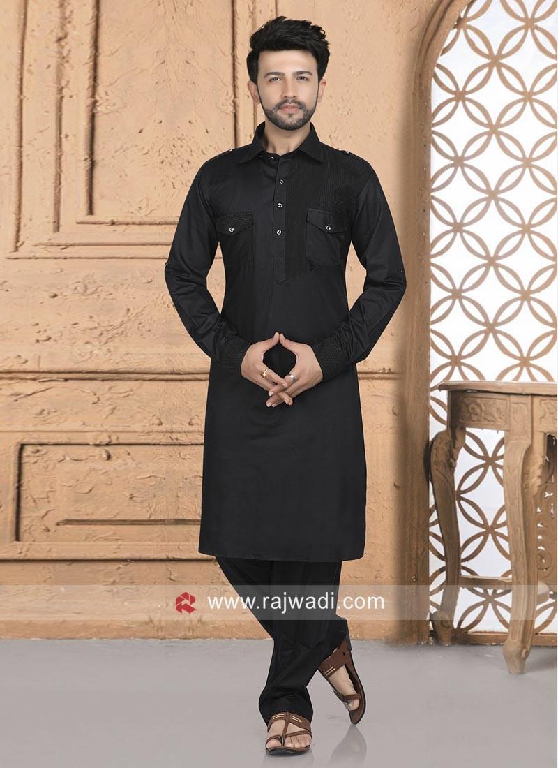 Cotton Silk Fabric Black Pathani Suit