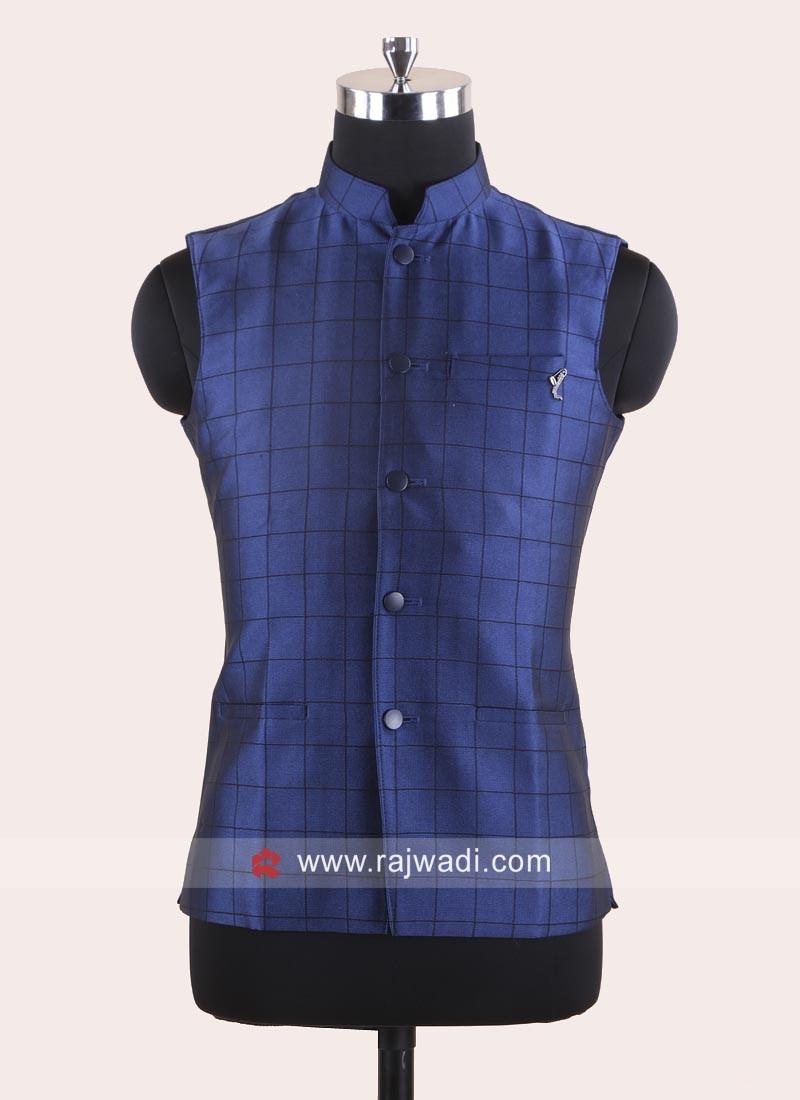 Cotton Silk Fabric Blue Koti