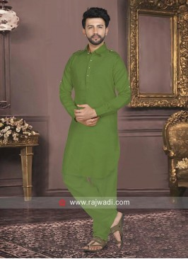 Cotton Silk Fabric Green Pathani Set